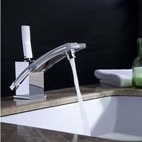 Wholesale Waterfall Chromed Polished Bathroom Basin Sink Faucet Mixer Tap Brass Faucets