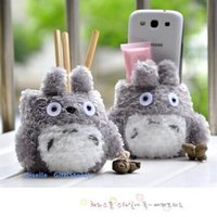 Wholesale Super Kawaii MY Neighbor TOTORO Plush TOY Cover DOLL Phone Stand Holder Pouch Case RACK DOLL School Desk Pen Pencil Holder BOX