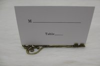 antique holiday cards - 100pcs Wedding Favors Antique Bronze Skeleton Key Place Card Holder with Matching Place Card Wedding Decoration Accessory