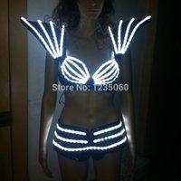 ballroom supplies - Hot Sale Colorful LED light costumes dj disco clothes luminous vest bar ballroom dance women signal sell bra shoulder and pants