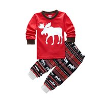 Wholesale Long Sleeve Girls Boys Kids Cotton Christmas Pajama Suits Sleepwear For Christmas Years Sizes