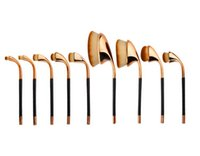 Cheap New!!! 9pcs set Golf Shaped Foundation Power Makeup Puff Brushes Sets Golden Silver Color Professional make Up brush Tools