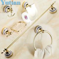 bar soap holders - Stainless Steel ceramic Bathroom Accessories Paper Holder Towel Bar Soap basket bathroom sets YT G