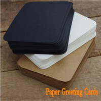 Wholesale 100 DIY Kraft Black and Whte Paper Greeting Cards for Scrapbooking Postcards Message Gift ON013
