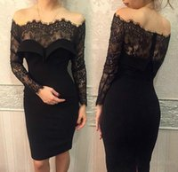 Wholesale Black Short Sheath Dresses with Lace Sheer Illusion Long Sleeves Cocktail Off the Shoulder Knee length Occasion Gowns Party