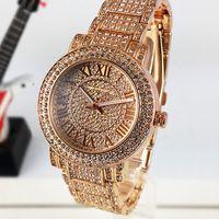 band numerals - 2016 Luxury watches Women Watch M Brand Diamonds Dial Band Roman numerals Quartz Watches For Womens Ladies Designer Wristwatch
