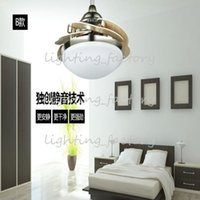 Wholesale 36 inch new simple fashionable restaurant wooden leaves ceiling fan bedroom ceiling fan lamp remote control LED chips fan light