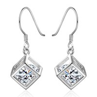 Wholesale 925 Jewerly Silver Plated Vintage Hollow Cubic Drop Earrings with Shining Free moving Ellipsoid Zircon Romantic Women Fashion Jewelry