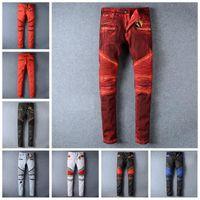 Wholesale Fashion Robin Zipper Jeans Men balmain Biker Jeans Wash Studded Cowboy Slim Denim Trousers with Wings American Flag Jean Mens Skinny Pants