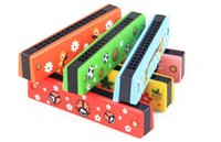 Wholesale Children painted wooden musical instruments harmonica harmonica WM112 early childhood music enlightenment multicolor green