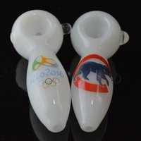 Wholesale Custom Logo Spoon Pipes quot in CUBS Olympic Logo White Hand Glass Smoking Pipes Baseball Football Team Oil Burner Glass Tobacco Pipes