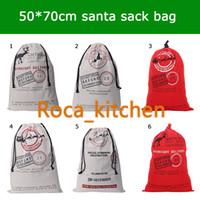 Wholesale 12style Large Canvas Bag Christmas Santa Claus Drawstring Bag Monogrammable Christmas Reindeers Gifts Sack Bags
