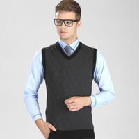 Wholesale New Mens Brand Knit Vest Sleeveless Sweater Pullover V Neck Basic Pullover Tops for Autumn Winter Y8891