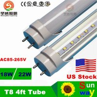 Cheap 100pcs CE ROHS FCC UL LED T8 Tube 4ft 22W 2200LM SMD 2835 Light Lamp Bulb 85-265V 3 years warranty