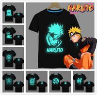 Wholesale Naruto Japan Men Anime Hot Luminous Uchiha Sasuke KAKASHI T Shirt Fluorescent T Shirt Tees Tops Men Clothes Plus size