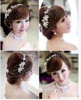 Wholesale The Bride Adorn Article Alloy Diamond Pearl Headdress Hair Dress Accessories