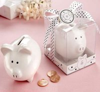 Wholesale Hot Kids Child Gift Wedding gifts Ceramic Pig Piggy Bank Coin Bank decoration Favors Party Storage Saving Can Tanks White