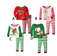 Wholesale Chirstmas Sleepwear Pajama Set New santa claus Deer Printed Long Sleeve T shirt Stripe Long Pants Children nightwear Kids Outfits N002