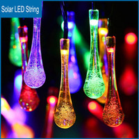 outdoor solar christmas lights - Solar Water Drop LED String LEDS Metre Garden Christmas Lights string Outdoor Christmas