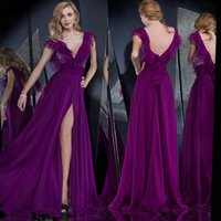 Reference Images arab specials - Sexy Purple V Neck Lace Long Chiffon Women Formal Arab Evening Gowns Prom Special Occasion Dress Open Back High Slit E4366