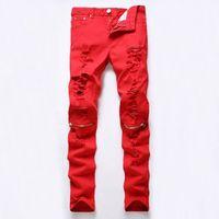 Wholesale European American zipper fly Style fashion brand men Balmain jeans luxury Mens casual denim trousers stripes Slim red fear of god jeans