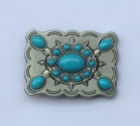 alloy western buckles - Western Turquoise Stone Cowgirl Cowboy Belt Buckle SW BY203 suitable for cm wideth belt with continous stock