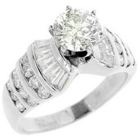 baguette diamond wedding ring - 3 WOMENS DIAMOND ENGAGEMENT WEDDING RING ROUND BAGUETTE CUT WHITE GOLD