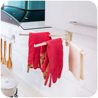 Wholesale Rotatable adjustable width towel rack Rod cloth towel bar holder kitchen storage shelf bathroom accessories