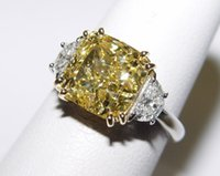 american pt - GIA CT Fancy Intense Yellow CT White Diamond Ring PT K