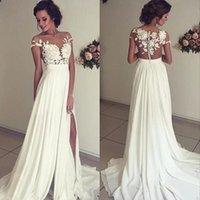 Wholesale Cheap White Beach Wedding Dresses Lace A Line Sexy Summer Bohemian Bridal Gowns Chiffon Side Slit Z683