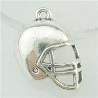 american football helmets - 16532 Antique Silver American Football Sports Ball Rugby Helmet Pendant