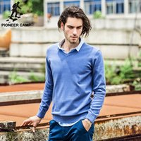 Wholesale Pioneer Camp New Mens Sweaters famouse brand Pull Homme Pullover Men Casual leisure Jersey Hombre Cotton v neck Plus Size