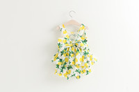 Cheap Summer girls lemon outfits latest design popular baby girl's clothing set vest tank tops+shorts 2pcs cotton kids suits with big bow L-2