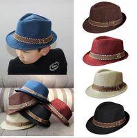 Unisex Spring / Autumn Crochet Hats Fashion Kids Boy Girl Unisex Fedora Hats Cap for Children Contrast Trim Cool Jazz Chapeu Feminino Trilby Sombreros