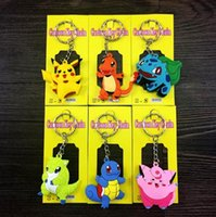 Wholesale Poke Go Keychains Keyring Poke Figures Keychains Pocket Monster Keychains Pikachu Double Sided Design Key Rings Birthday Xmas Gift D701