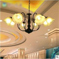Wholesale LRE026 Hot sale led light iron pendant lights for home hotel decoration glass shade european chandeliers with CE UL