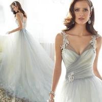 Wholesale 2016 New Simple Wedding Dress V neck Applique A line Light Grey Bridal Gowns Spaghetti Tulle Organza Chapel Train Beaded Vestido De Noiva BM