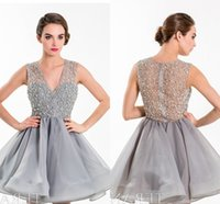beaded overlays - Party Dress With Plunging V neckline Embellished Mesh Overlay At The Bodice And Flared Mesh Skirt Cocktail Dresses HY1596