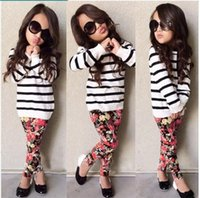 Wholesale Striped Leggings Outfit - 2016 Autumn New Cute Baby Girls Clothes Stripe T-shirt Tops + Floral Leggings Pants 2pcs Sets Kids Fall Clothing Set Children Outfits
