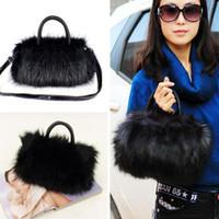acrylic faux fur - Women Messenger Bag Pretty Cute Faux Rabbit Fur Women Leather Handbag Shoulder Handbag Tote High Quality