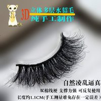 Wholesale New pair100 handmade real mink fur long false eyelash D strip mink lashes thick fake faux eyelashes Makeup beauty tool
