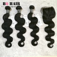 Wholesale Cheap Hair Extensions A Body Wave Brazilian Virgin Hair With Lace Closure Double Weft Bundles With x4 Swiss Lace Closure Remy Hair