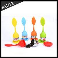 Wholesale New Silicone infuser Cute leaf Tea Leaf Strainer Herbal Spice Tea creative Stainless Steel Tea Strainers