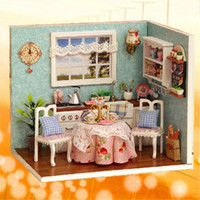 Wholesale Cute Wooden Dining Room Dollhouse Miniature DIY Model Kit With Cover And LED furnitures Handcraft Miniature Doll house Kitchen