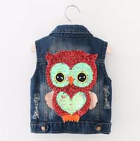 Wholesale Girls Outerwear Autumn Cowboy Waistcoats Length Jacket Cartoon Owl Appliques Coat for Kids Vests