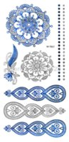 art periods - 2pcs Vintage Temporary Tattoo Flash Blue Silver Metallic Tattoo Body Art Women Tatuagem temporaria tatuaje art periods