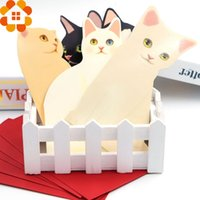Wholesale 2016 New Arrival PC Lovely Mini Cat Folding Greeting Card amp Thank You Card For Birthday Christmas Gifts Decoration Supplies