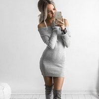 basic sweaters - 2016081317 off shoulder elastic winter sweater women Short gray lapel pullover sexy white dress jumpers Autumn bodycon basic knitwear dress