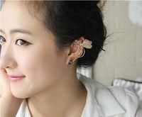 Wholesale Shiny Butterfly Wings Shape Left Ear Cuff Womens Clip Clamp Earrings Diamond Earrings Butterfly Earrings Elf Ear Cuff No Pierced Ear Clip