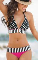 Wholesale 2016 new style sexy bikini swimsuit female retro dot stripe suit summer swimwear Brazilian bikini women beachwear S XL